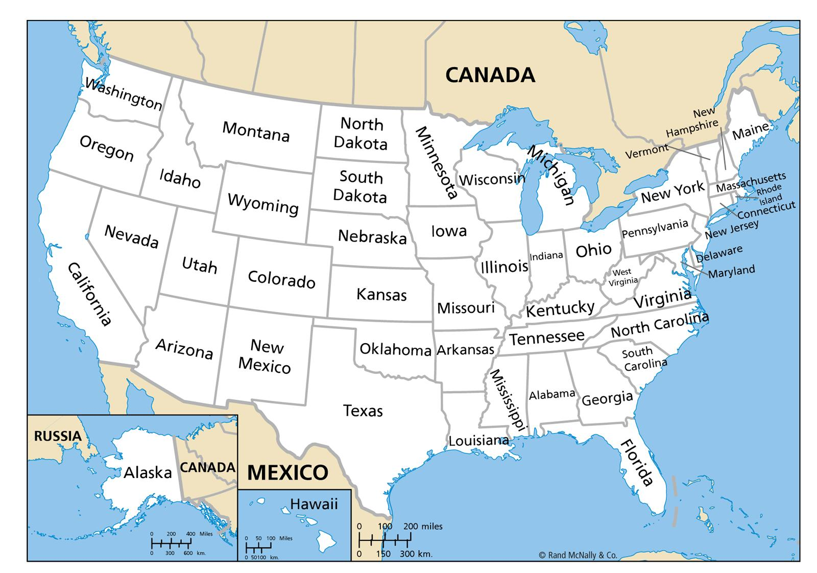 United States Map With State Names Peta Amerika Serikat Dengan Nama Nama Negara Amerika Utara Amerika